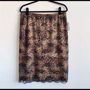 Express Lace Overlay Cheetah Print Skirt